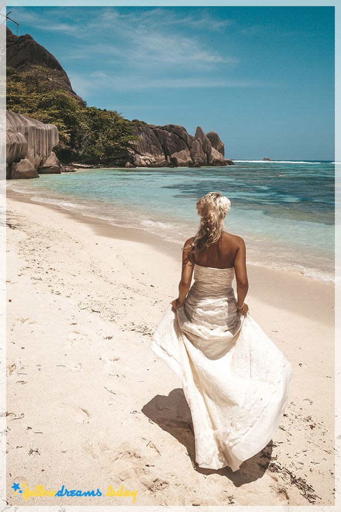 Seychelles holidays. Bride on the La Digue.
