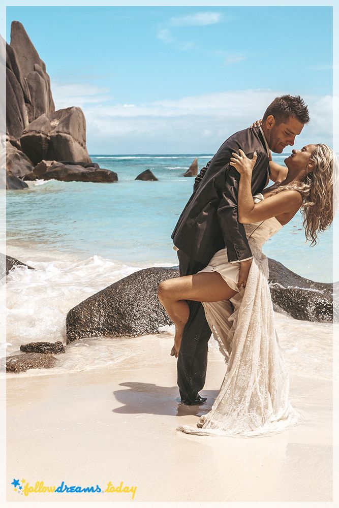 Fresh marriage couple at exotic beach. Most beautiful beaches in the world