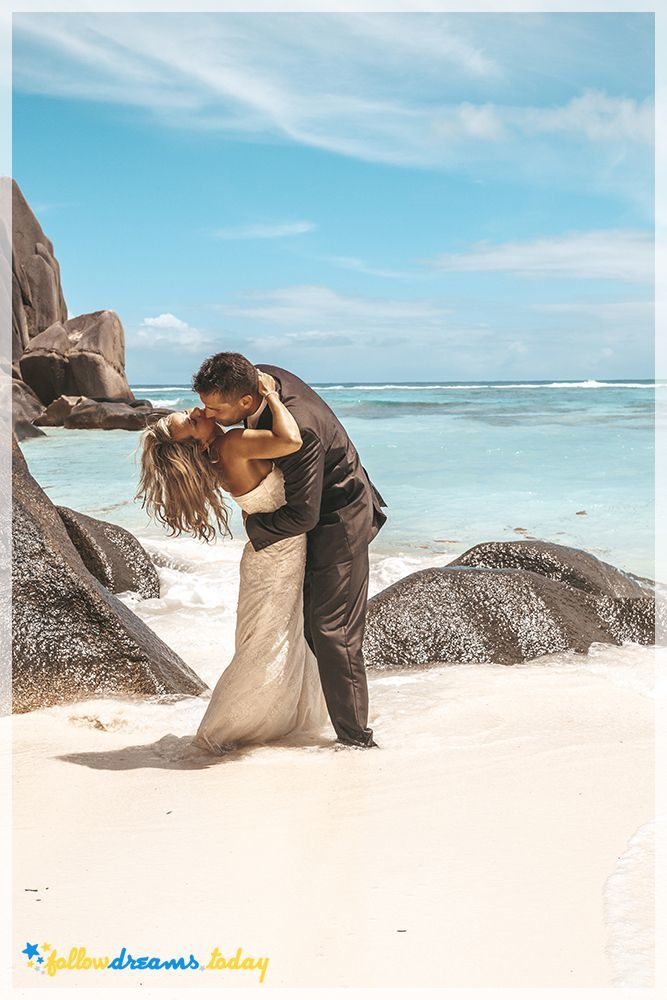 Romantic bridal couple on the pretty beach
